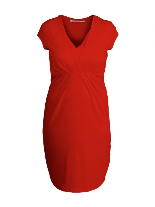 Red Nursing Maternity Dress