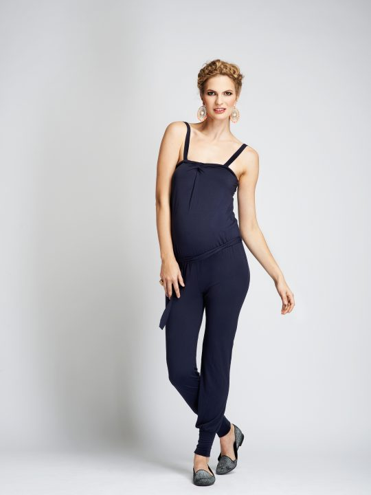 Navy Maternity Jumpsuit