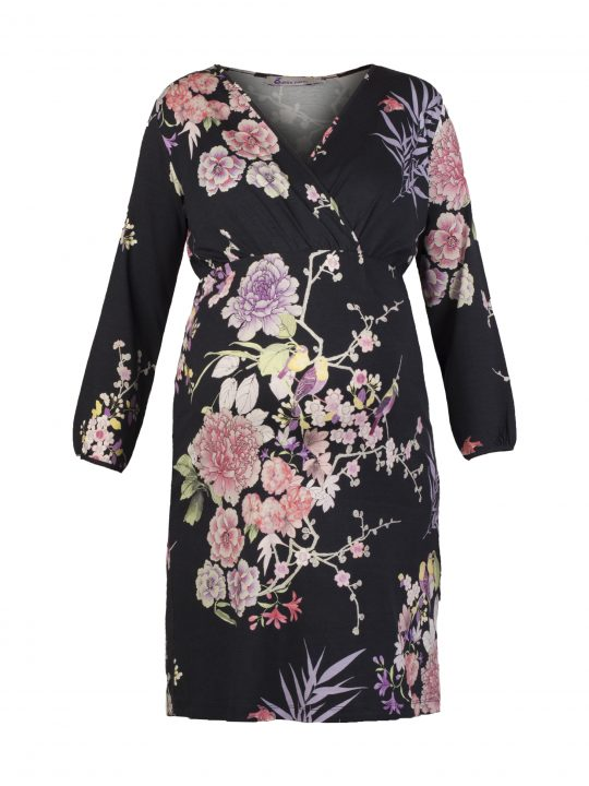 Japanese Flower Print maternity dress