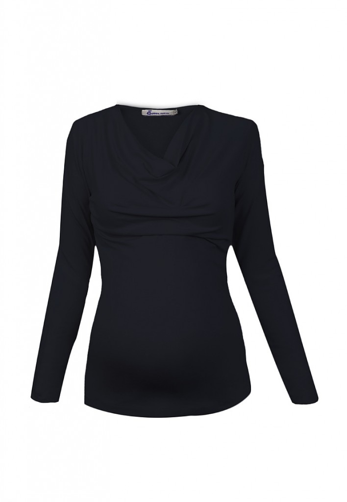Navy Blue Cowl Neck Jersey Maternity and Nursing Top