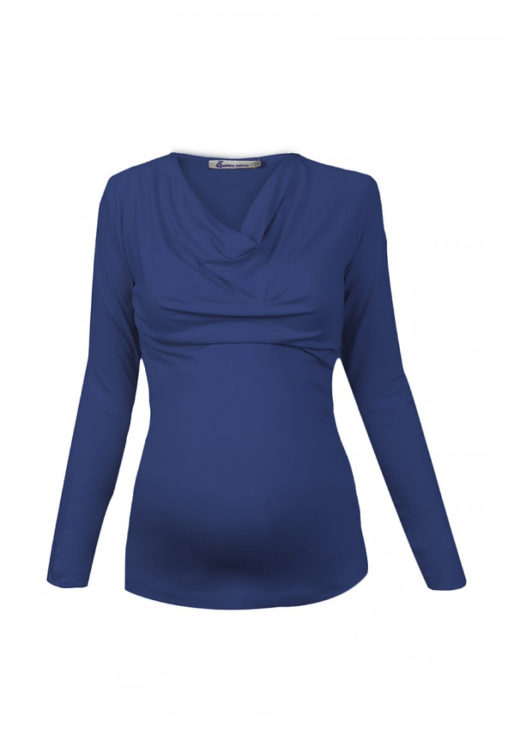Blue Cowl Neck Jersey Maternity and Nursing Top