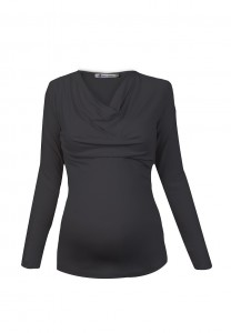 Grey Cowl Neck Jersey Maternity and Nursing Top