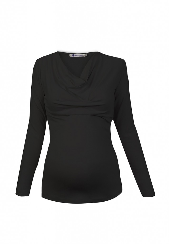 Black Cowl Neck Jersey Maternity and Nursing Top