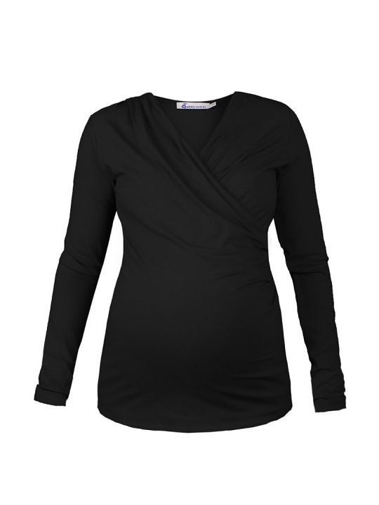 Black Cross over Maternity and Nursing top