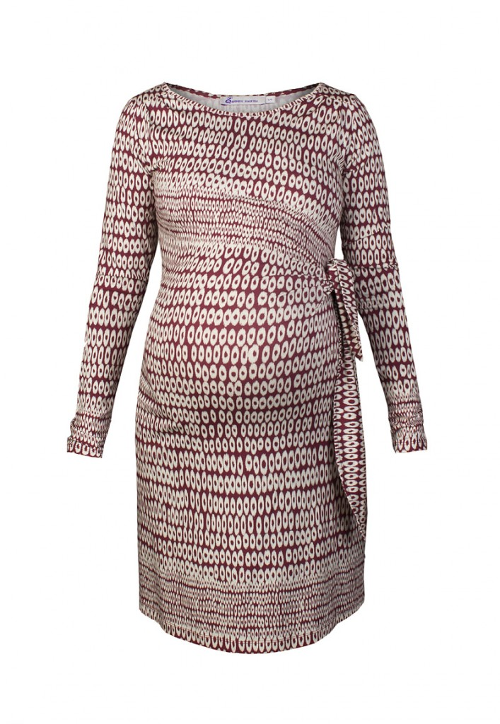 Circle Print Maternity Dress Red
