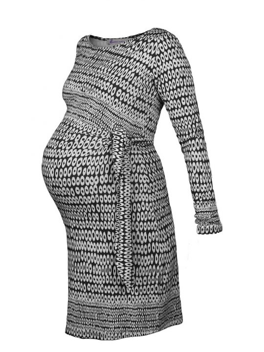 Circle Print Maternity Dress black