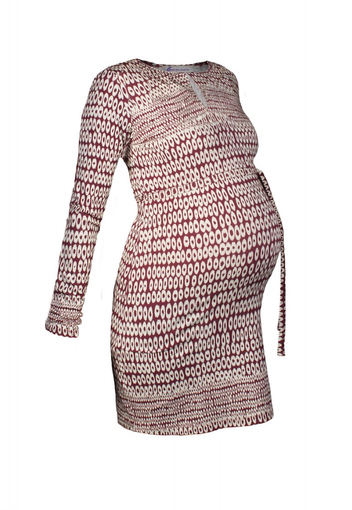 Circle Print Maternity Dress in Red