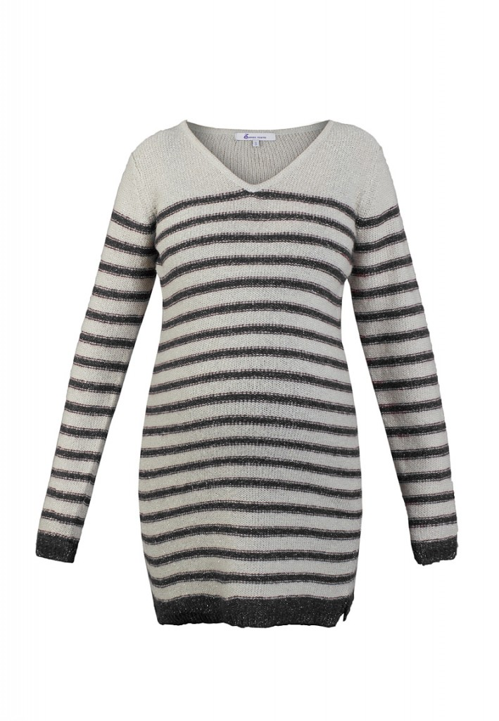 Striped Wool-Mix Maternity Jumper Dress in Grey
