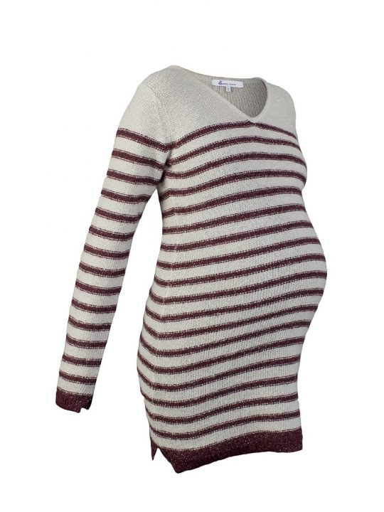 Striped Wool-Mix Maternity Jumper Dress in Red