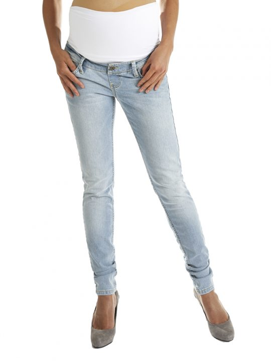 Light blue skinny maternity jeans