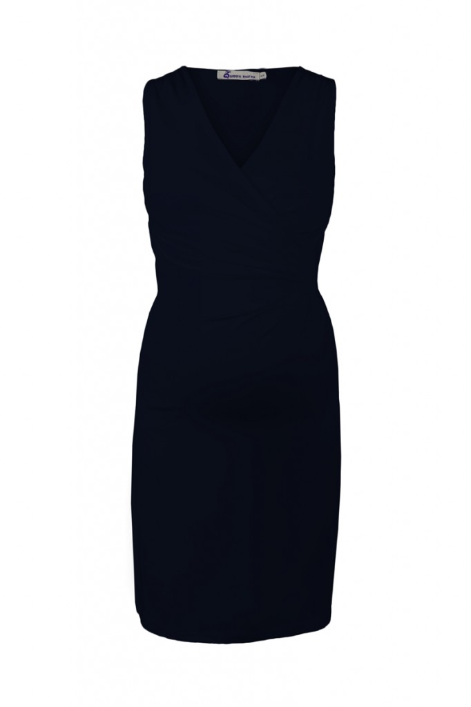 Navy Blue Classic Maternity Dress with Crossover Top