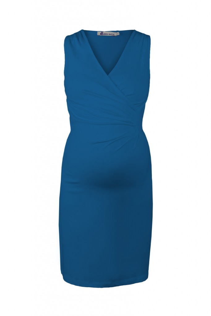 Blue Classic Maternity Dress with Crossover Top
