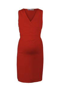 Red Classic Maternity Dress with Crossover Top Yellow