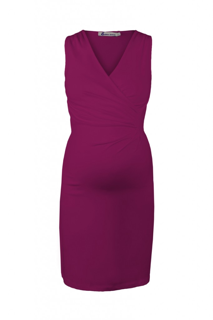 Pink Classic Maternity Dress with Crossover Top