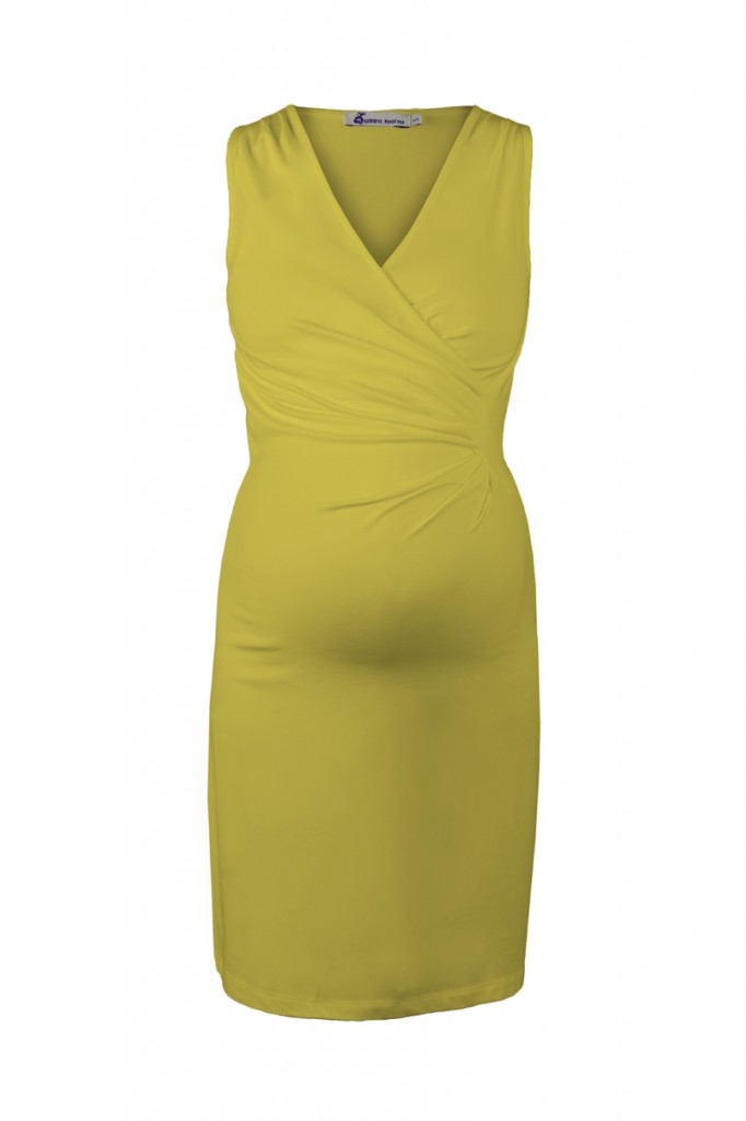 Classic Maternity Dress with Crossover Top Yellow