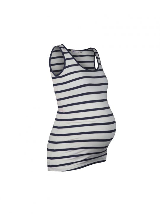 Black and White Striped maternity vest top