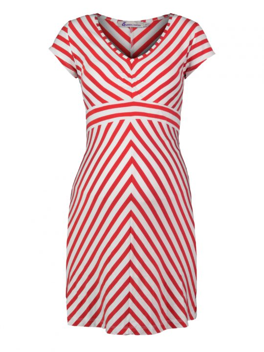 Red & White Striped Maternity Dress