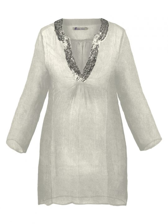 White Fine Sequin Maternity Tunic