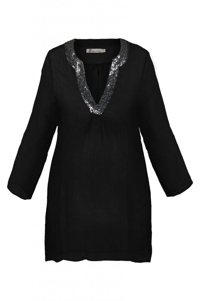 Black Fine Sequin Maternity Tunic