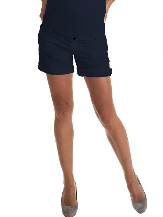 Navy cotton maternity shorts