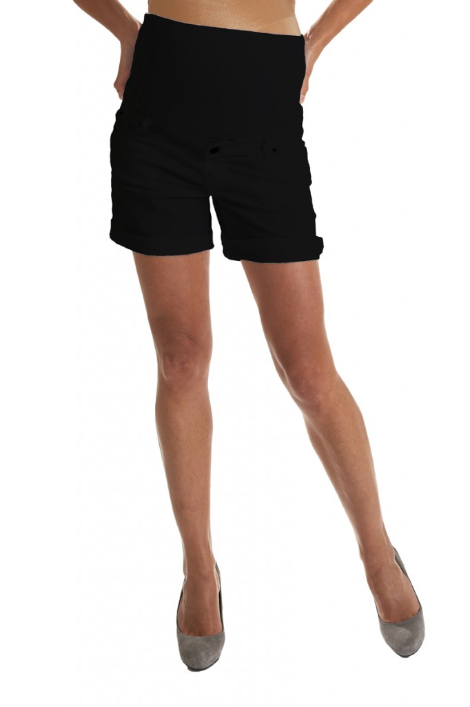 Black cotton maternity shorts