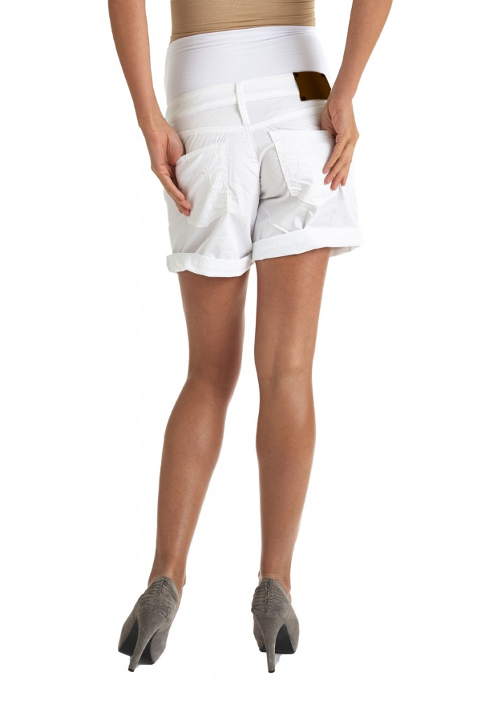 White cotton maternity shorts