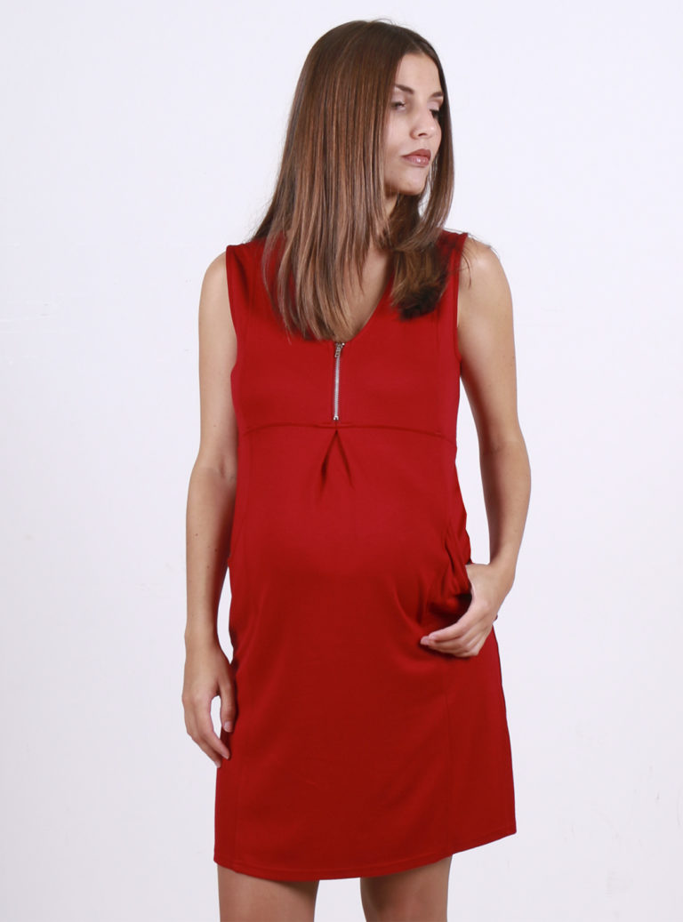 red sleeveless nursing and maternity dress