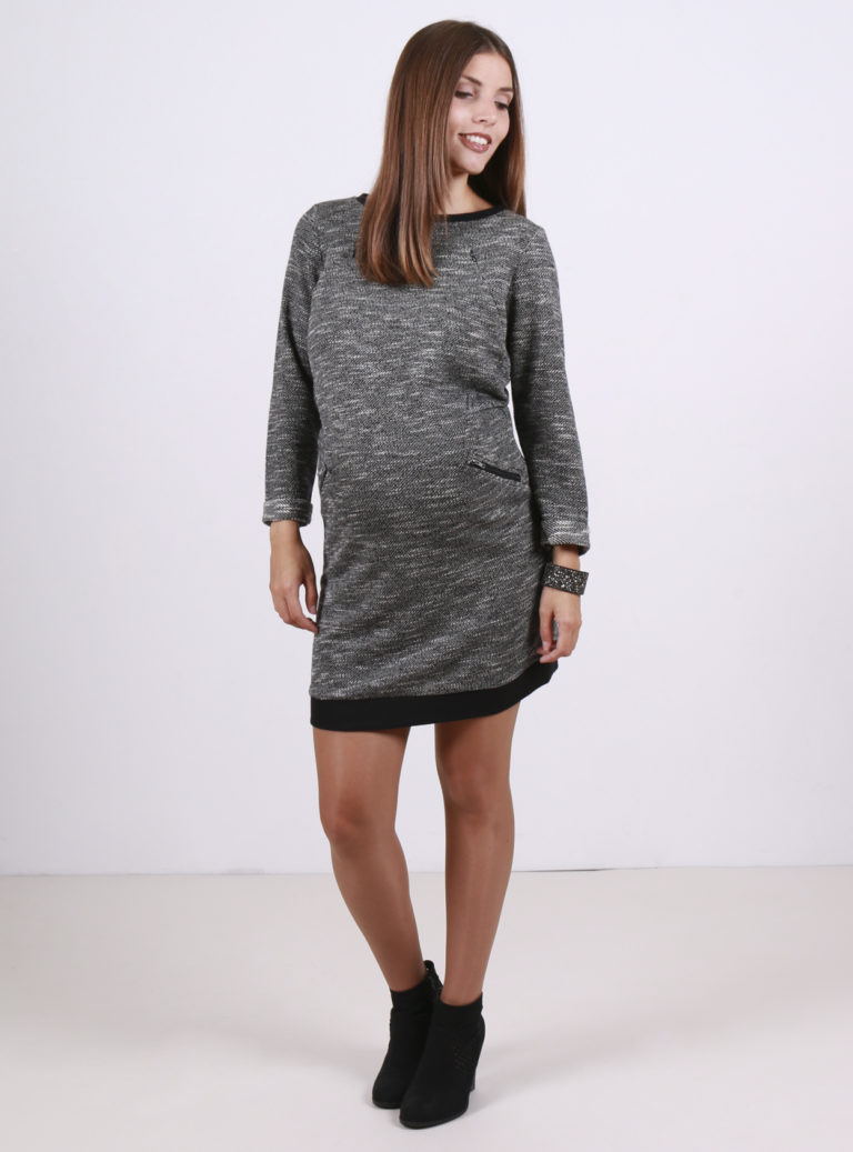black and grey knitted nursing and maternity jumper dress