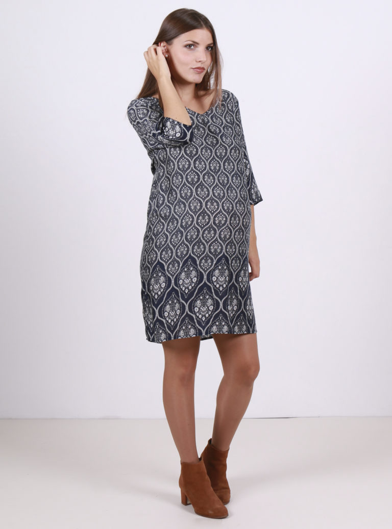 blue pattern print maternity dress