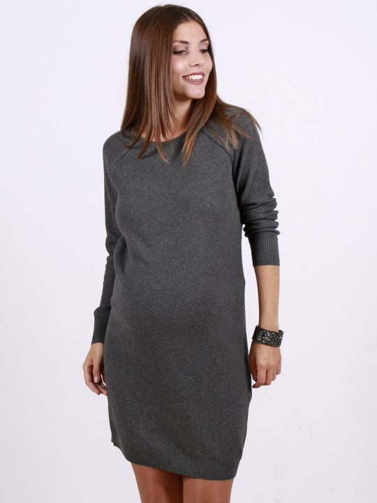 Grey nursing and maternity jumper dress