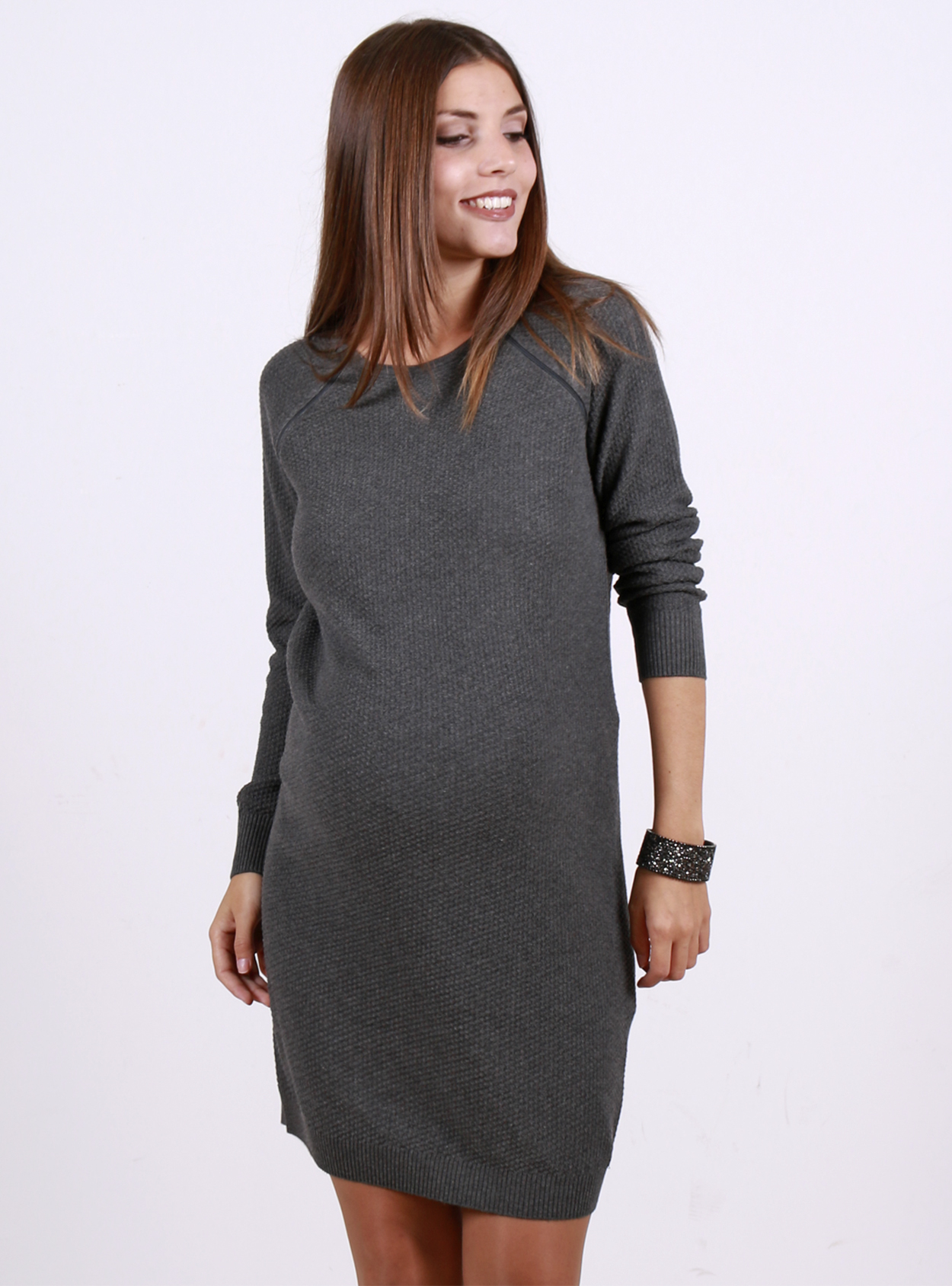 3549b6f09164b Grey Knit Long Sleeved Nursing Maternity Dress With Zips