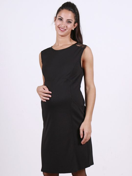 black lace shoulder evening maternity dress