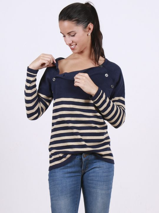 Blue and cream knitted striped nursing and maternity jumper