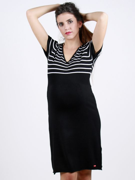 black and white striped knit maternity dress