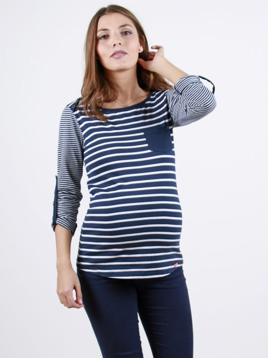 long sleeved blue striped maternity top