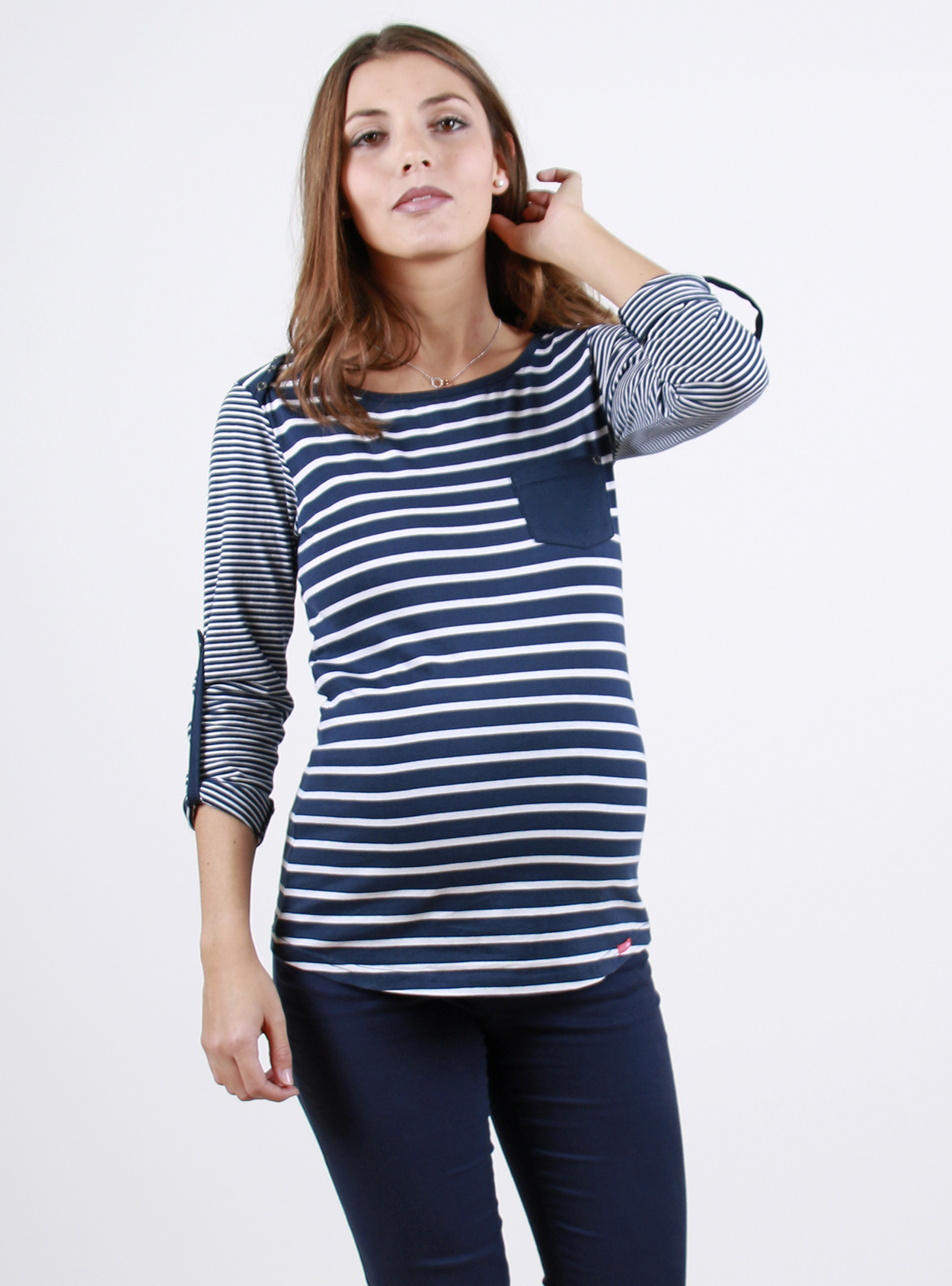 Striped Long Sleeve Maternity T-Shirt With Contrasting ...