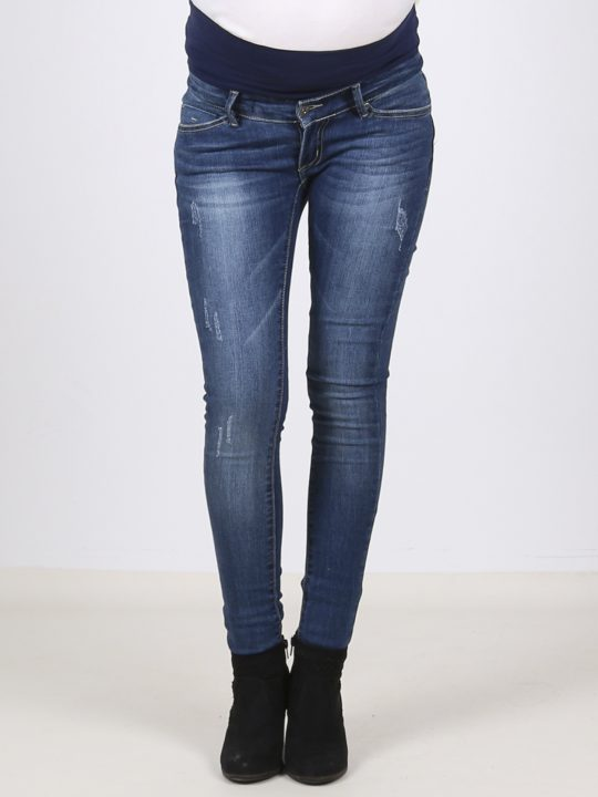 Stylish distressed denim maternity skinny jeans