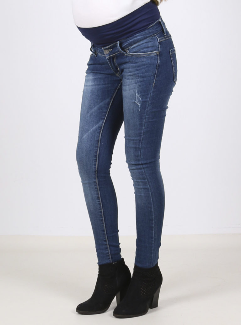 Comfy distressed denim maternity skinny jeans