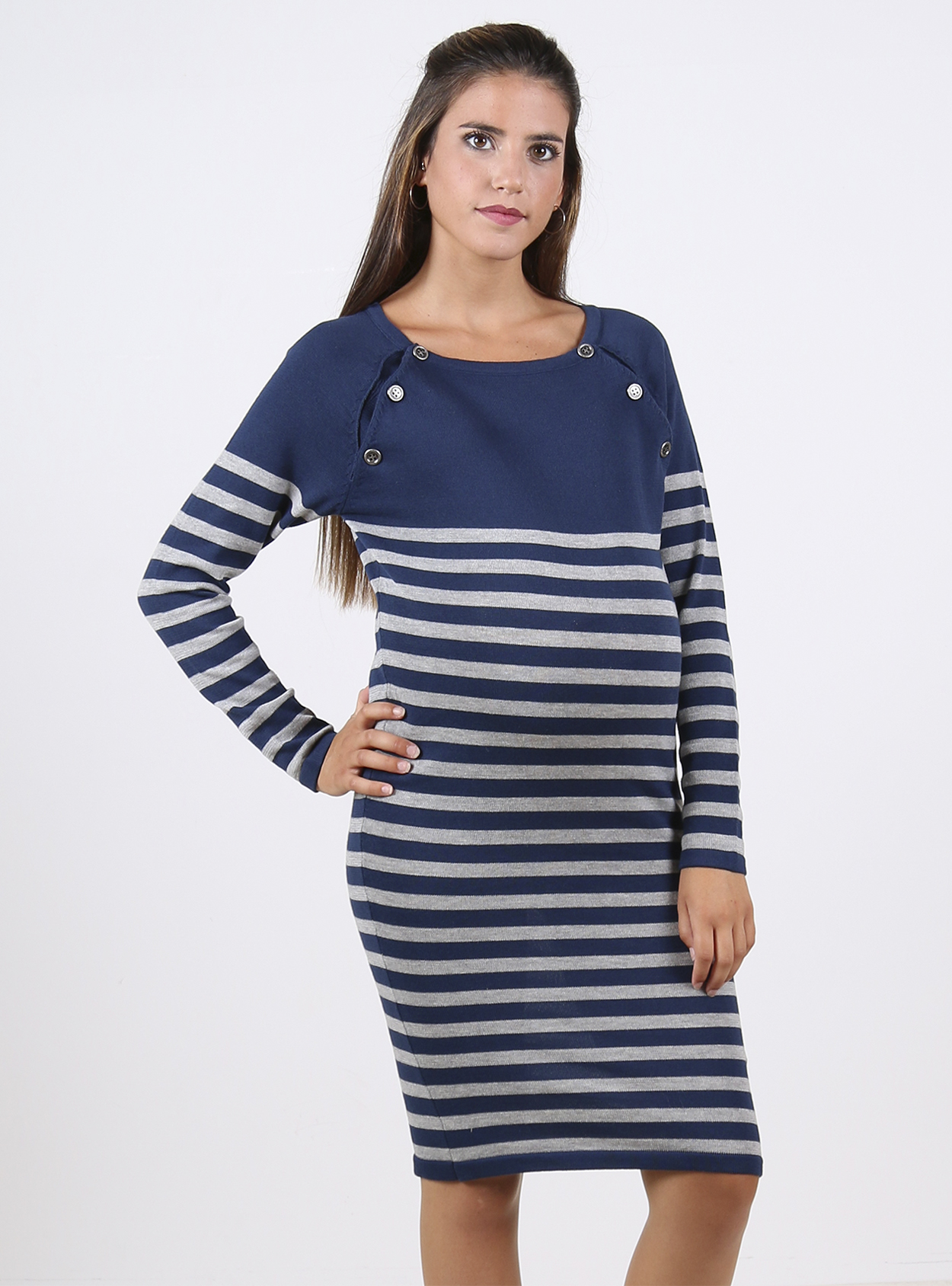 6700f1705b873f Blue and grey striped knitted maternity and nursing jumper dress
