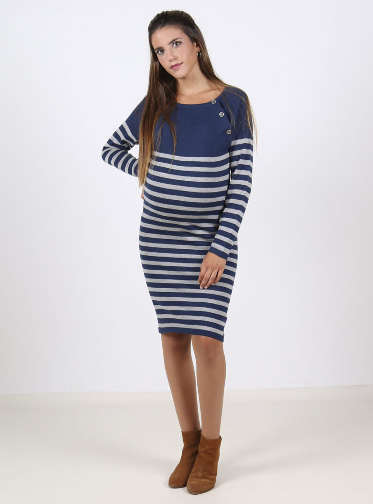 Blue and grey striped knitted maternity and nursing jumper dress