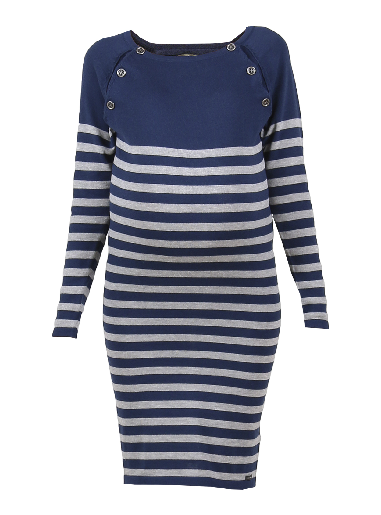 5ae0baabc33 Blue and grey striped knitted maternity and nursing jumper dress