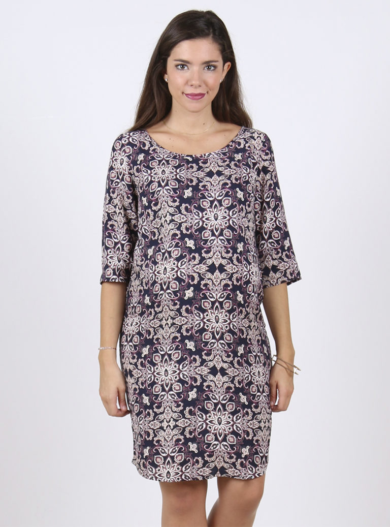 lightweight Purple print maternity dress