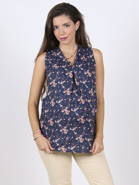 Blue sleeveless flower print maternity top blouse