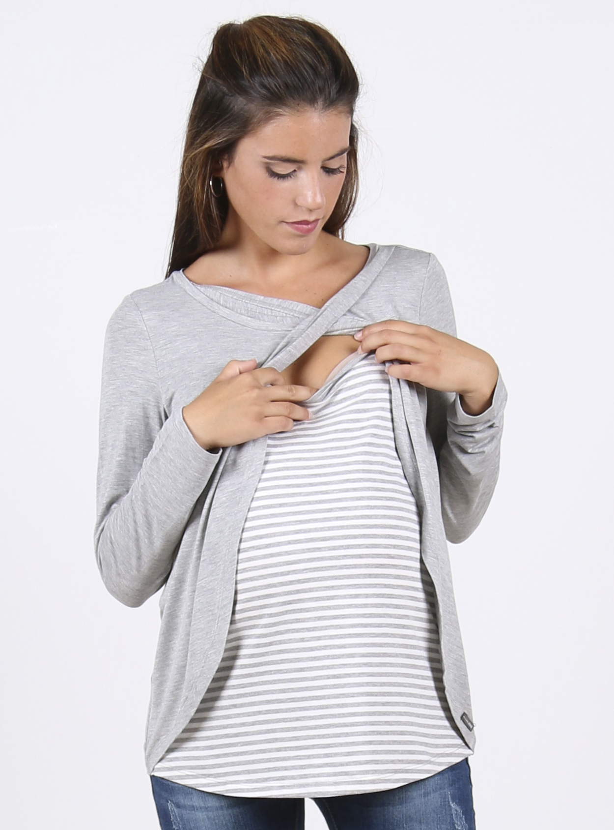 Striped Cross-over Nursing and Maternity Top