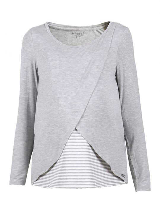 Grey striped crossover maternity and nursing top