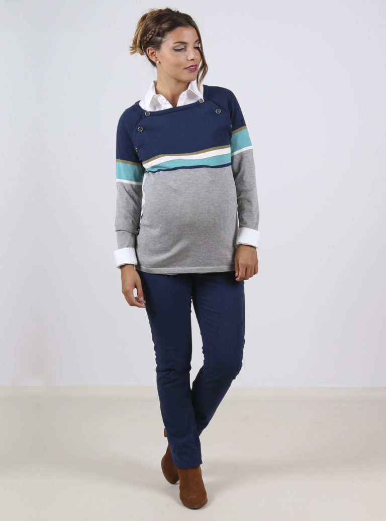lightweight Striped grey and blue maternity and nursing jumper