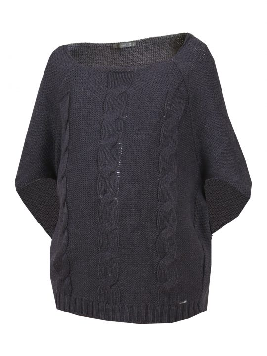 Knitted grey maternity poncho jumper