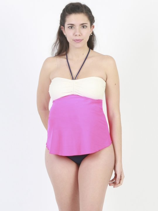 block colour halterneck maternity tankini