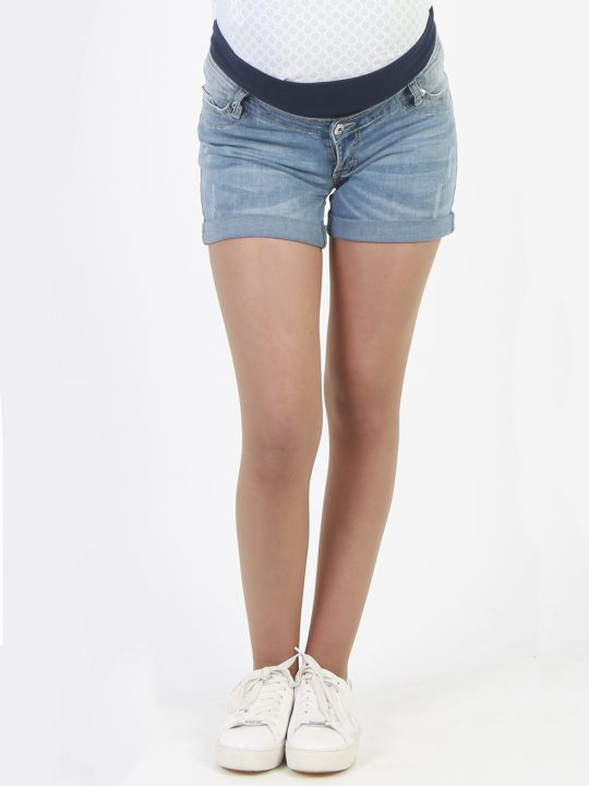 cool denim maternity shorts