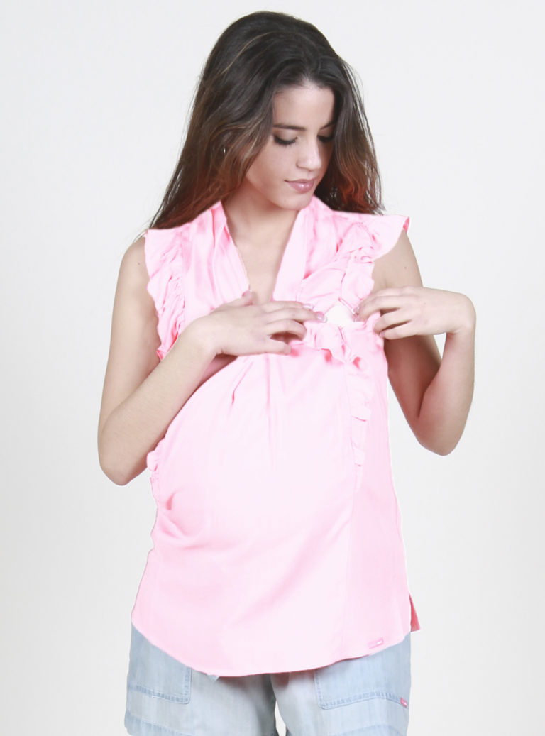 Pink maternity blouse